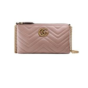 Rose Gucci GG Marmont Wallet on Chain